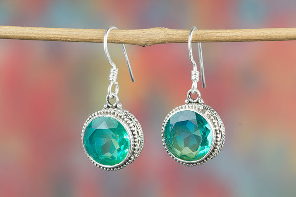 Apatite Lab Gemstone Sterling Silver Earring