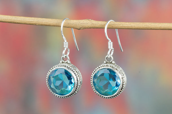 Blue Topaz Lab Gemstone Sterling Silver Earring