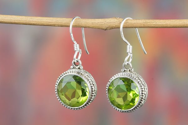 Faceted Peridot Lab Gemstone Sterling Silver Earring