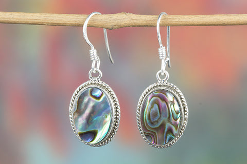 Abalone Shell Gemstone Sterling Silver Earring