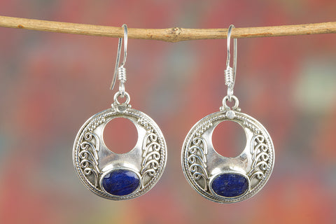 Oval Blue Sapphire Earrings, Exquisite handcraft Design, Gemstone Earrings, Shell Leverback Earrings, September Birthstone, September Birthday Gift for Her,