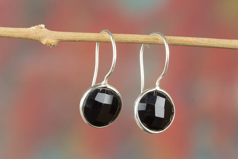 Faceted Black Onyx Gemstone Sterling Silver Earring