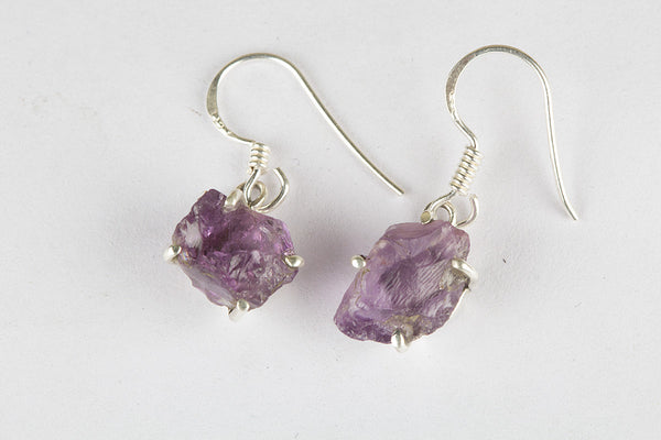Amethyst Cut Rough 925 Sterling Silver Earring