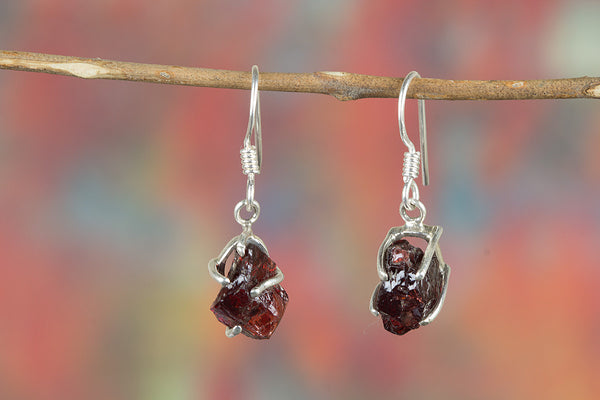 Faceted Amethyst Rough Gemstone Sterling Silver Earring