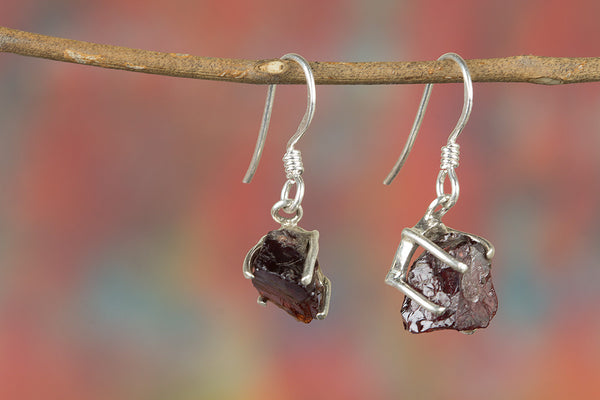 Faceted Garnet Rough Gemstone Sterling Silver Earring