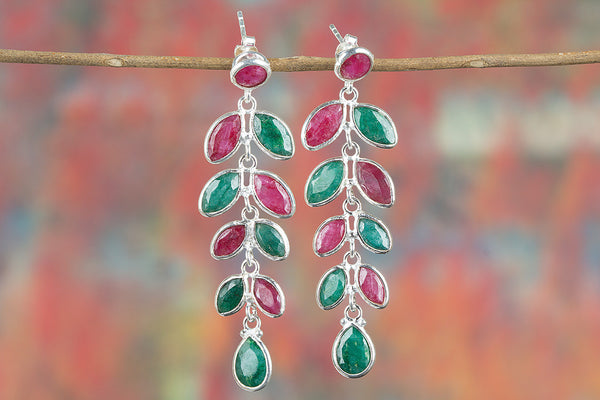 Ruby & Emerald Gemstone Sterling Silver Earring
