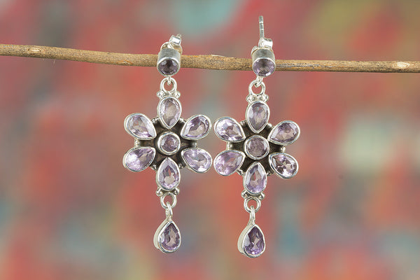 Faceted Amethyst Gemstone Sterling Silver Earring
