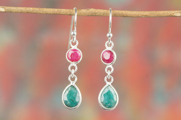 Multi-Stone Ruby & Emerald Earring, 925 Sterling Silver Earring, Ruby Earrings, Red Jewel Earrings, Garnet Earrings, July Birthstone, January Birthstone, Gift For Her