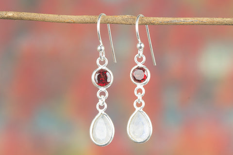 Multi-Stone Earring, Moonstone Earrings, Garnet Earrings, Moonstone Dangle Earrings, Religious Earrings, Healing Gemstone Jewelry