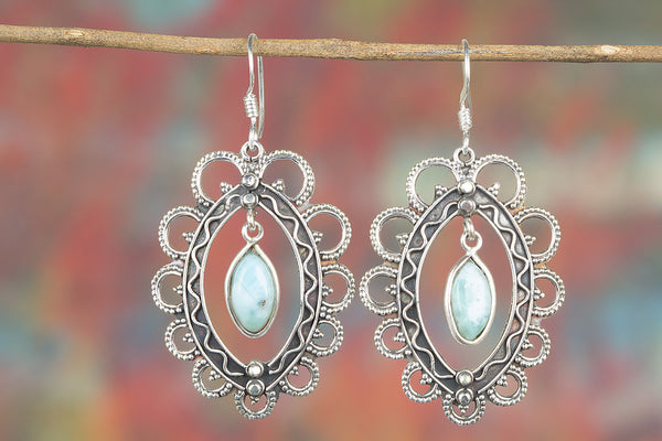 Larimar Gemstone Sterling Silver Earring