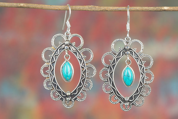 Turquoise Gemstone Sterling Silver Earring