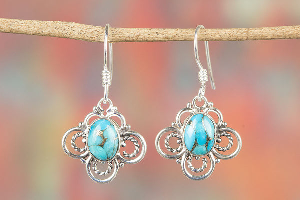 Blue Copper Turquoise Earring Pure Sterling Silver