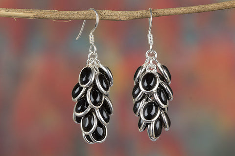 Black Onyx Gemstone Grapes Shape Silver Earring