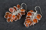 Carnelian Gemstone Grapes Shape Silver Earring