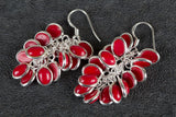 Coral Gemstone Grapes Shape Silver Earring
