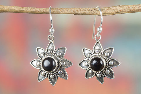Black Onyx Gemstone Sterling Silver Earring