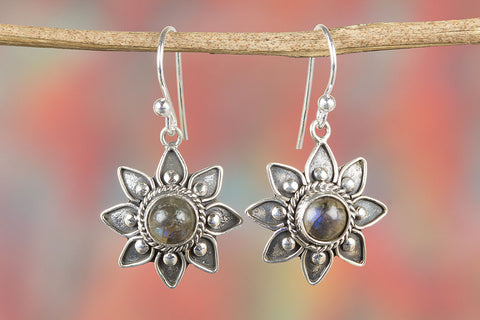 Labradorite Gemstone Star Shape Silver Earring