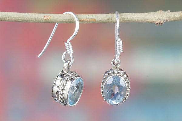 Blue Topaz Gemstone Sterling Silver Earring