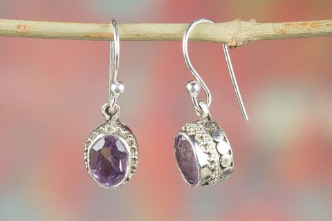 Amazing Faceted Amethyst Gemstone Silver Earring,