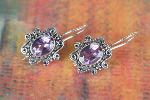Amazing Faceted Amethyst Gemstone Silver Earring
