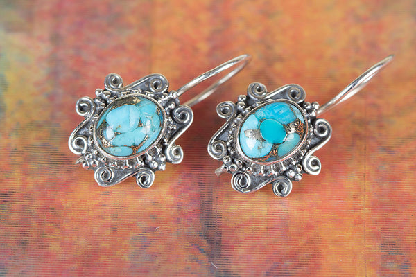Blue Copper Turquoise Gemstone Sterling Silver Earring