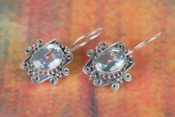 Faceted Blue Topaz Gemstone Sterling Silver Earring