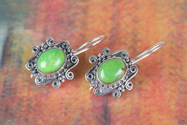 Green Turquoise Gemstone Sterling Silver Earring