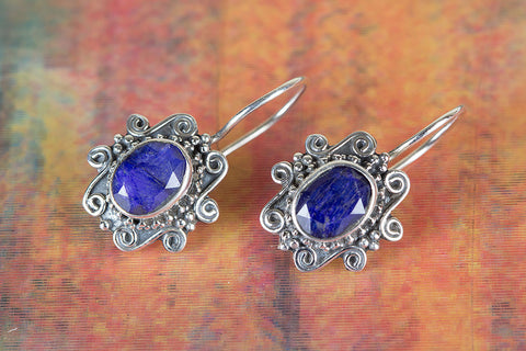 Blue Earring, Bridal Earrings, Sapphire Earring,Blue Bridesmaids Earring, Sterling silver sapphire earrings, Sapphire earrings, Stone earrings, September birthstone jewelry, Anniversary gift
