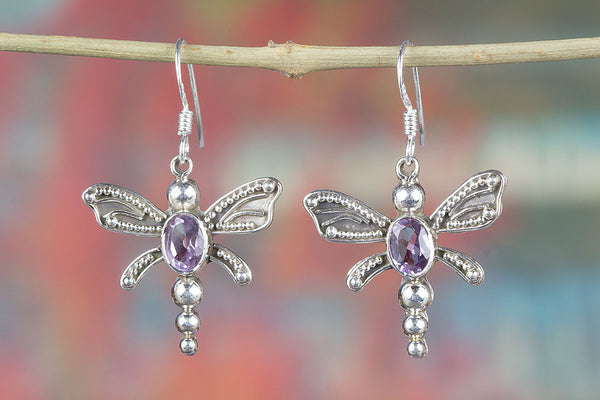 Faceted Amethyst Gemstone Butterfly Shape Silver Earring