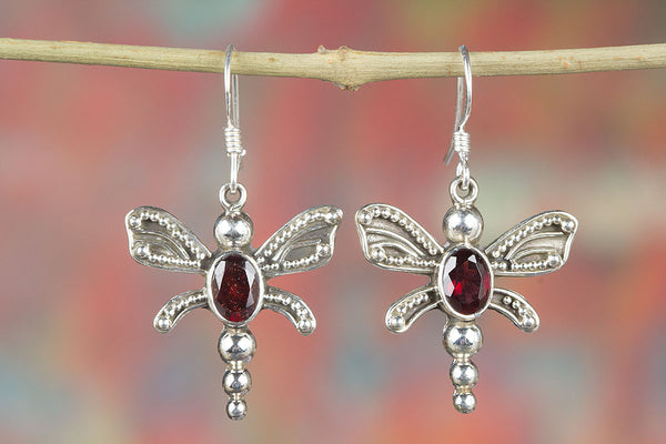 Faceted Garnet Gemstone Butterfly Shape Silver Earring,