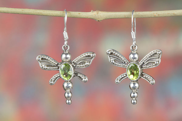 Peridot Gemstone Butterfly Shape Silver Earring