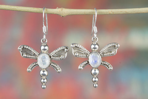 Faceted Rainbow Moonstone Gemstone Butterfly Shape Silver Earring
