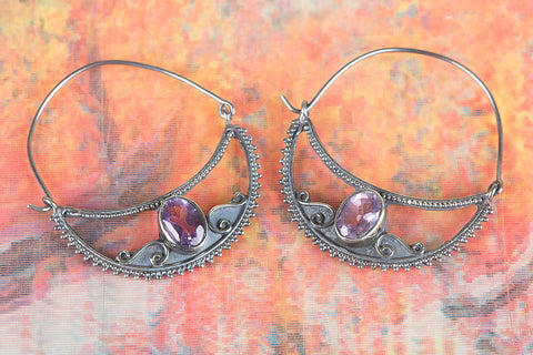 Amazing Faceted Amethsyt Gemstone Silver Earring