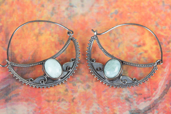 Larimar Earring 925 Silver Dominican Earring Gypsy Earring Special Occasion Earring Blue Earring Classic Earring Party Wear Earring Rare Earring Stylish Design Earring Daily Earring Anniversary Earring Wedding Earring Gift Her