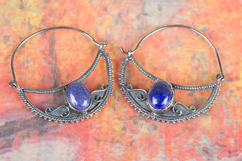 Lapis Lazuli Gemstone Sterling Silver Earrings