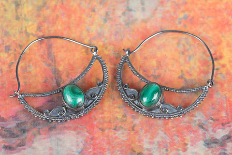 Amazing Malachite Silver Earring