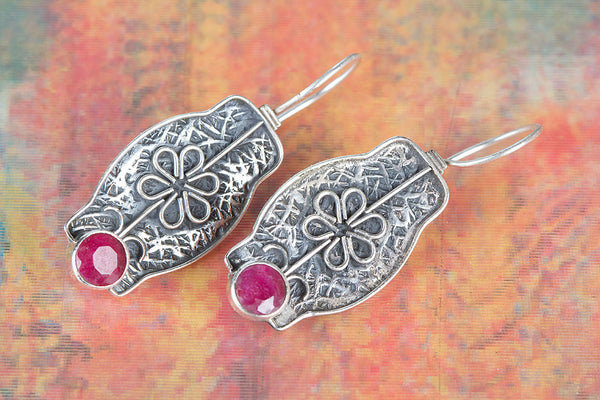 Ruby Earring, 925 Sterling Silver, Anniversary Gift, Wedding Earring, Engagement Gift Jewelry, Gift For Her