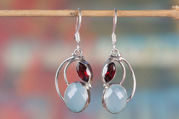 Faceted Aqua Chalcedony Gemstone Silver Earring