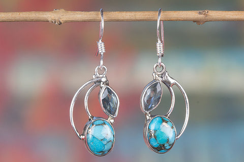 Blue Copper Turquoise Earring, 925 Sterling Silver, Dangle Earring, Everyday Earring, Gypsy Jewelry, Attract Earring, Unique Wedding Earring, Woman Earrings, Gift her