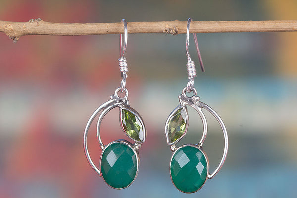 Faceted Green Onyx Gemstone Sterling Silver Earring,