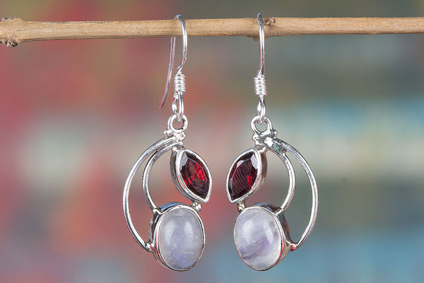 Rainbow Moonstone & Garnet earrings, 925 Sterling Silver, Bridal Earrings, Boho Jewelry, Promise Earrings, Delicate Earrings, Double Stone Jewelry, Promise Earrings, White Moonstone Jewelry, Engagement Gift, Petite Earrings, Gift For Daughter