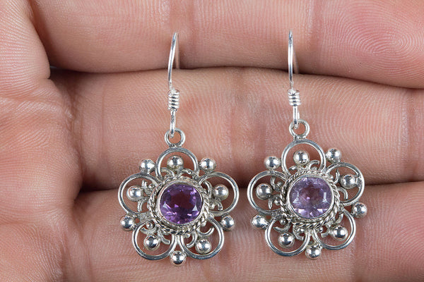 Faceted Amethyst Gemstone Silver Earring