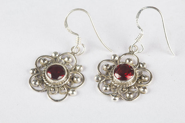 Faceted Garnet Gemstone Sterling Silver Earring