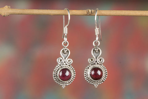 Garnet Gemstone Sterling Silver Earring