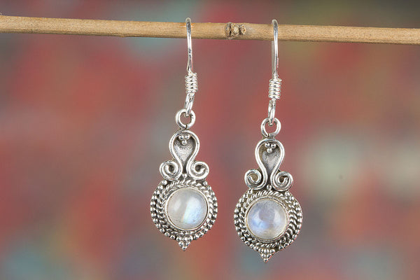Rainbow Moonstone Gemstone Sterling Silver Earring