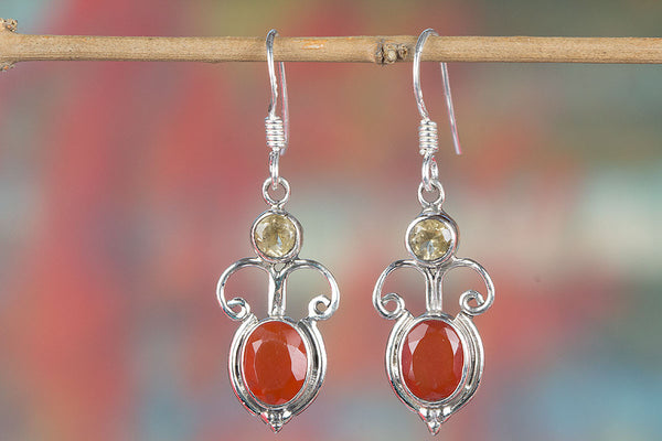 Faceted Carnelian Silver Earring