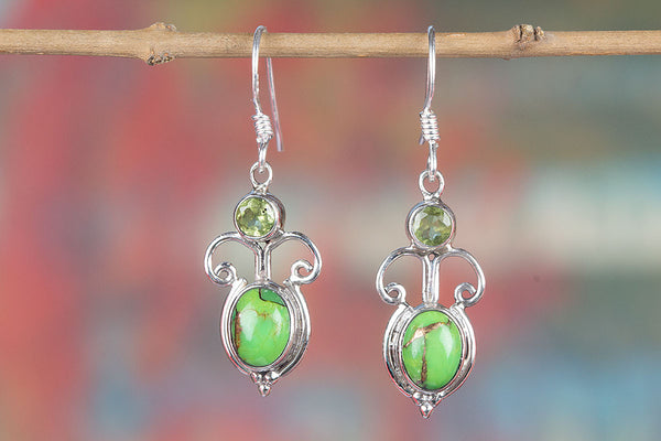 Green Turquoise Gemstone Sterling Silver Earring,
