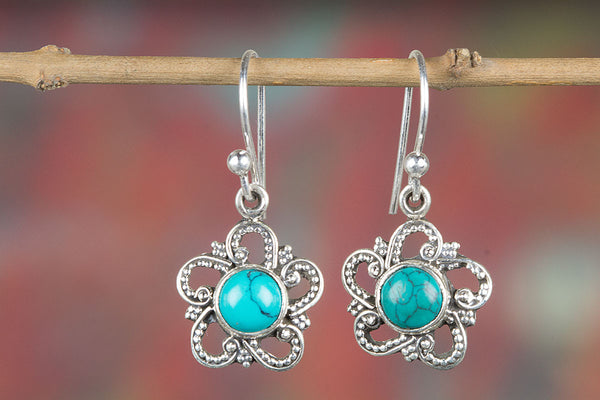 Turquoise Earring, 925 Sterling Silver, Delicate Earring, Girls fashion Earring, Attractive Jewelry, Charm Earring, Long Earring, Fancy earring, Latest earring,Bridal Jewelry, Everyday earring, Gift