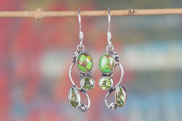 Green Turquoise & Faceted Peridot Gemstone Sterling Silver Earring