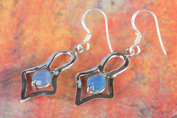 Faceted Blue Chalcedony Gemstone Sterling Silver Earring